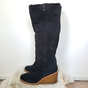 Coach Keely Black Shearling Lined Suede Boots 7.5